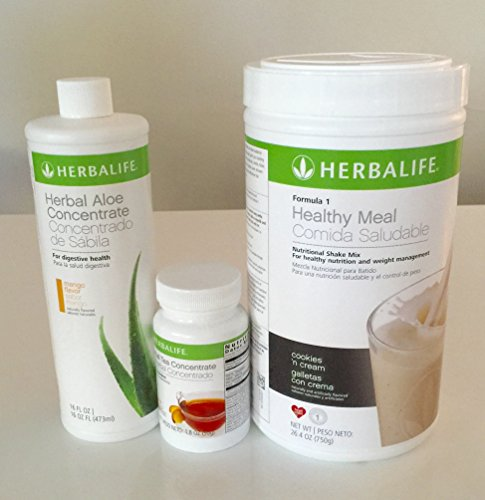 Herbalife Aloe Tea Shake Kit - Herbal Aloe Mango, Herbal Tea Concentrate, Formula 1 Cookies & cream shake - Mango Aloe