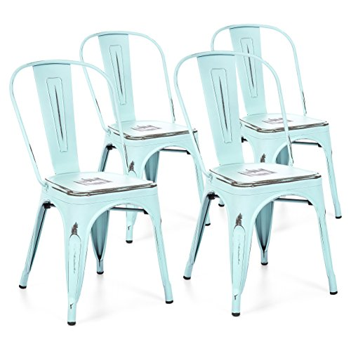Best Choice Products Set of 4 Stacking Metal Distressed Industrial Style Dining Chairs (Blue) by Best Choice Products