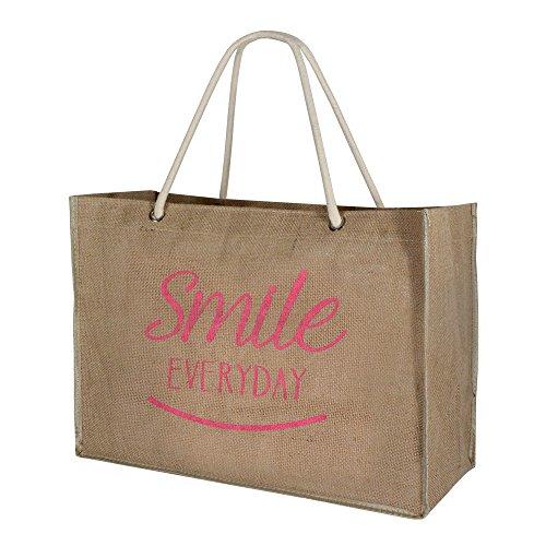 Lolilota Unisex Juta shopper borsa da spiaggia XL - Smileprint (beige rosa)