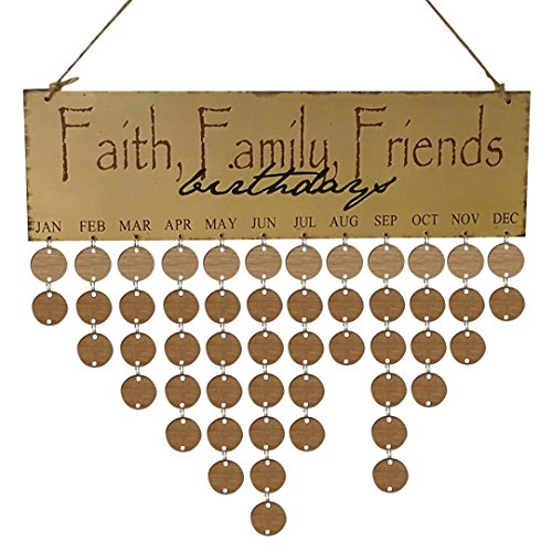 DKmagic Wooden Birthday Reminder Board Birch Ply Plaque Sign Family & Friends DIY Calendar (A)