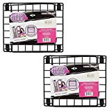 Locker Shelf - Stackable Locker Shelf - Fits Standard Size Locker - Black, Purple, Pink or Teal (2 Pack - Black)