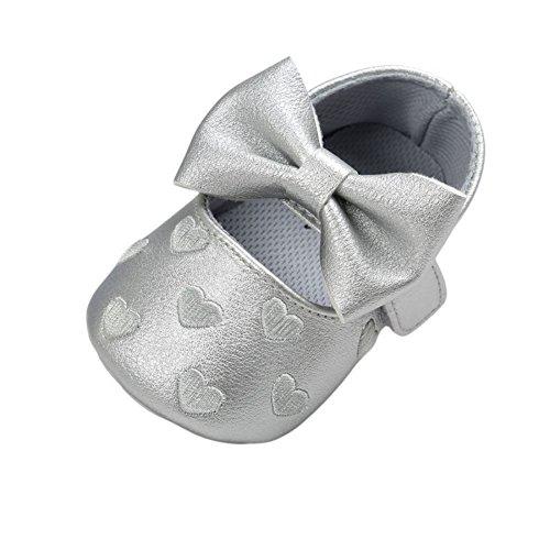 Brightup Baby Mädchen Prewalker Sweet Love Herz Bowknot Anti-Rutsch Soft Sole Leder Schuhe Silber