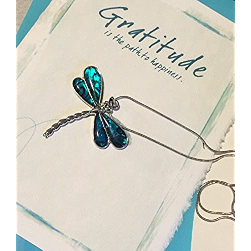 Dragonfly Gratitude Gift Set - Gratitude Greeting Card - Abalone Shell Dragonfly Necklace - Woman, Girl, Friend Sales