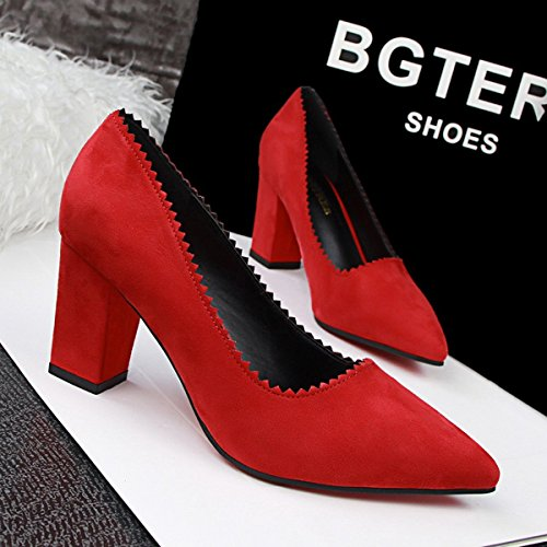 Pumps Chunky Pointed Plain jntworld Toe Suede Heel Red Women Faux w8IqwEP6