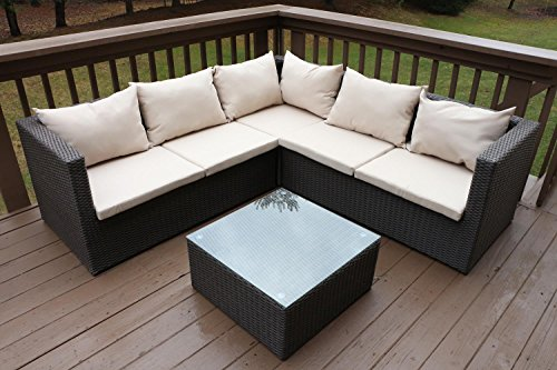 Oliver Smith - Large 4 Pc Modern Rattan Wiker Sectional Sofa Set Outdoor Patio Furniture - Fully Assembled - Aluminum Frame with Ottoman - 908 Light Beige