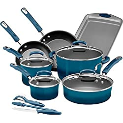 Rachael Ray 14 Piece Hard Enamel Nonstick Cookware Set, Marine Blue