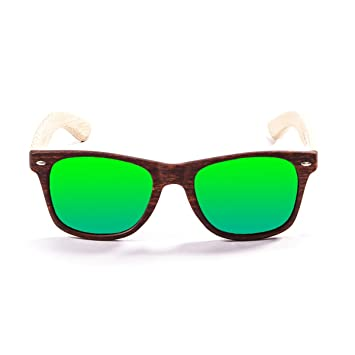 OCEAN SUNGLASSES Beach Lunettes de Soleil Black Frame/Wood Natural Arms/Revo Green Lens EyDrLNKq5P