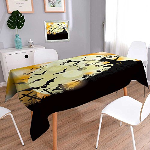 PRUNUSHOME Linen Square Tablecloth Halloween flyer design with big moon Eps vector file. Washable Table cloth Dinner Kitchen Home Decor/52W x 52L -