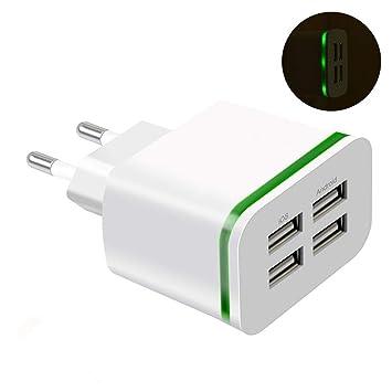 Tomasa Adaptador de Cargador de Pared de teléfono de Carga rápida de 4 Puertos USB 5V 4A LED de Viaje a casa Bases de Carga