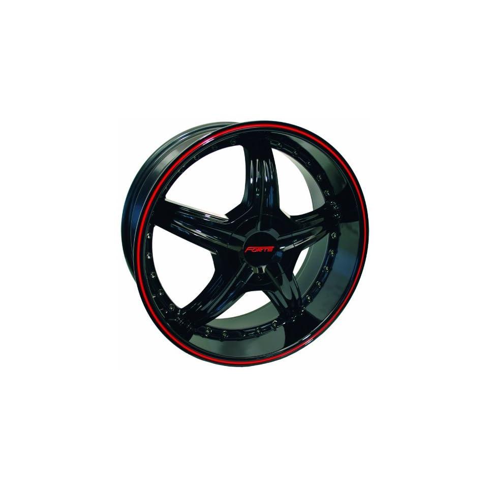 18x8 Forte Redrum Black w/ Red Stripe Wheel Rim 5x112 5x120 +45mm Offset 73.1mm Hub Bore Automotive