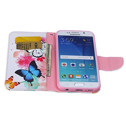 Funda Samsung S6, Samsung Galaxy S6 Carcasa Funda Cuero [Pluma Libre] Samsung Galaxy S6 Case Book Estilo Libro billetera con correa de cordón Magnético Folio Flip Caso pata de cabra titular de la tarj Dos mariposas