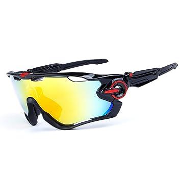 Ciclismo Gafas de Sol Jawbreaker polarizado Hombres Gafas Deportivas 4 Lentes Ciclismo Gafas Gafas de Bicicleta (Logotipo Negro y Rojo): Amazon.es: Deportes ...