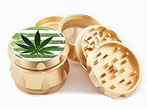 "Weed Design Premium Grade Aluminum Tobacco,Herb Grinder -4Pcs Large (2.5"" Gold) # GLD-G50-8715-3"