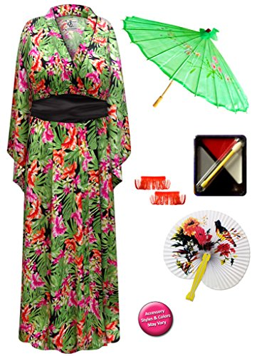 Sanctuarie Designs Tropical Print Geisha Robe Plus Size Supersize Costume - Deluxe Kit 1x/2x