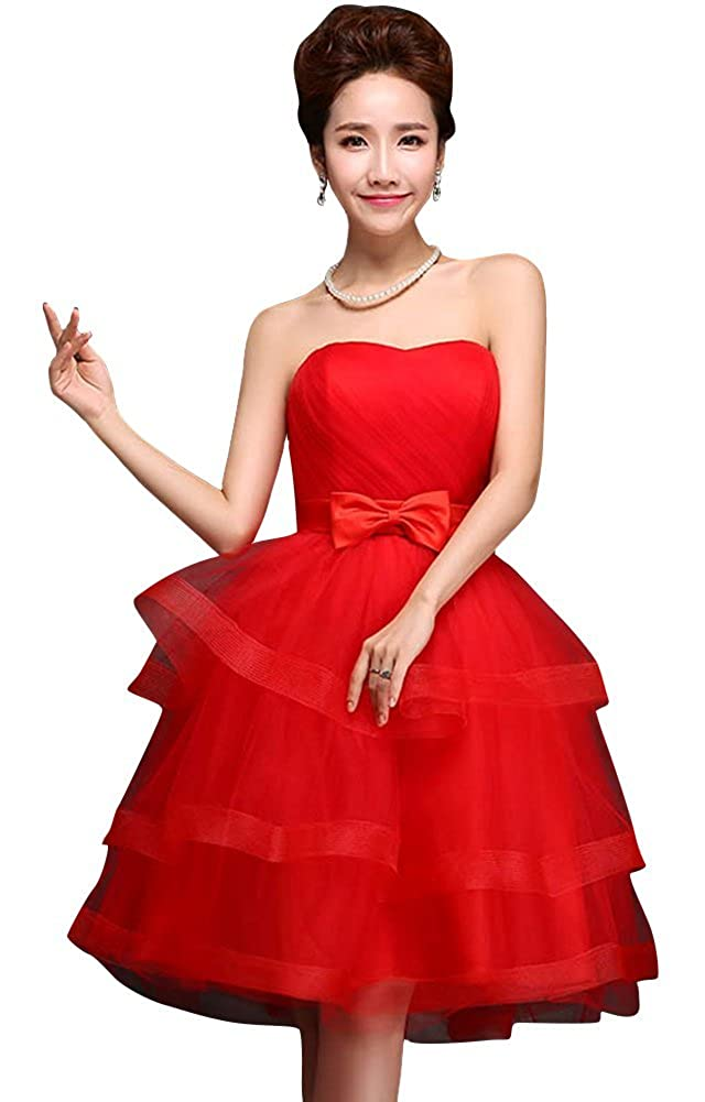 Drasawee Strapless Ball Gown Mini Short Junior Prom Dress Bridesmaid Party Gowns