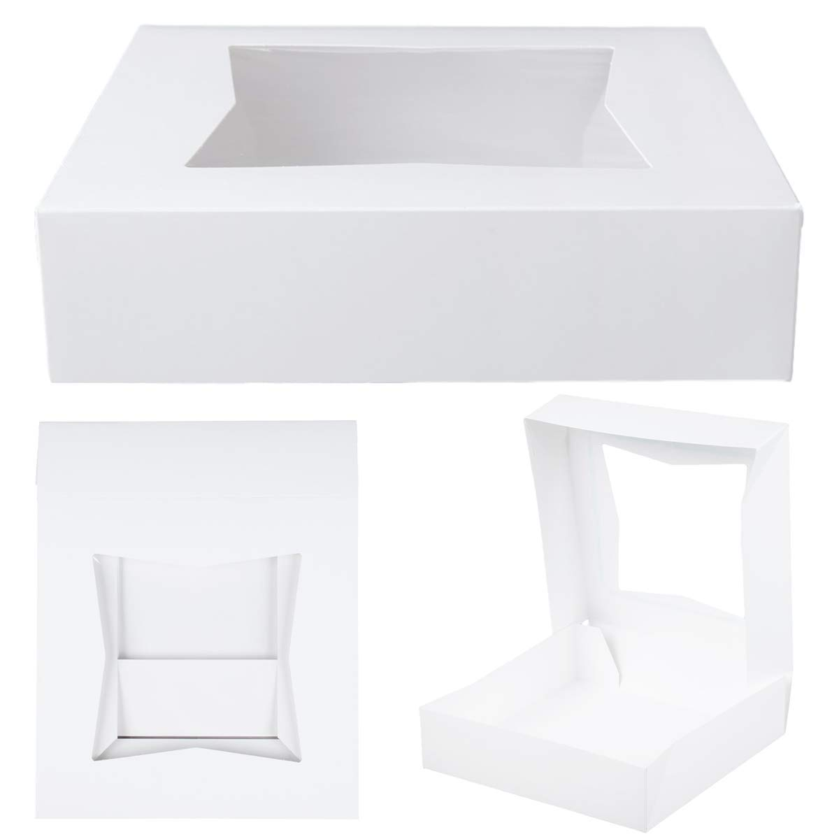 MM Foodservice White Paperboard Window Bakery Box, Auto-Popup Window Pastry Box, Pie Box, Perfect for Cakes, Donuts, Cookies, Pack of 25 (10 Inch x 10 Inch x 2 1/2 Inch)