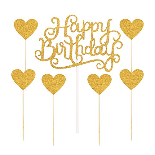 PALASASA-Gold-glitter-Happy-Birthday-Cake-Topper-and-love-star-Party-Event-Decorations-set-of-7