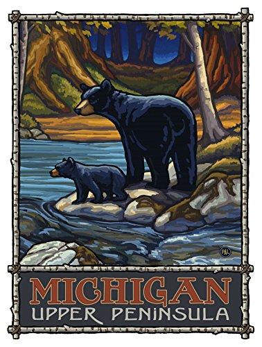 Michigan Upper Peninsula Bears in Stream Travel Art Print Poster by Paul A. Lanquist (9