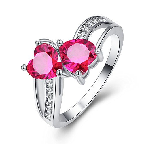 (Veunora 925 Sterling Silver Created Heart Cut Pink Tourmaline Filled Twisted Love Ring Size 7)