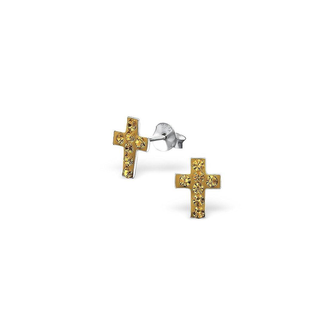 Girls Cross Crystal Ear Studs 925 Sterling Silver