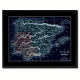 Spain Portugal Old Vivid Color Map 39011 Picture Frame Gift Ideas Office Décor Bedroom Livingroom Gameroom Housewarming Birthday - Black 28'' x 37''