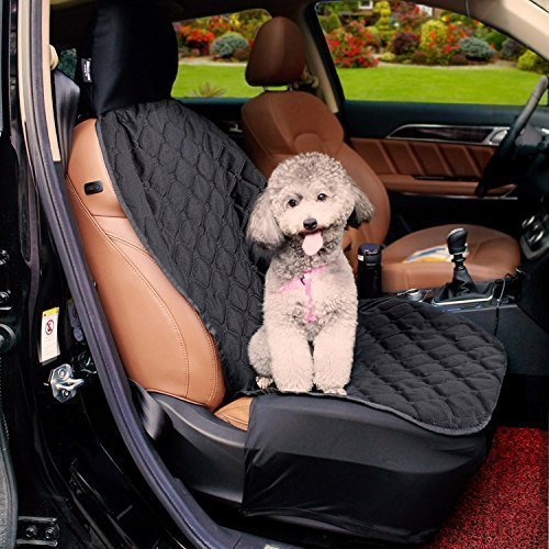 Acrabros Universal Fit Nonslip Waterproof Padded Quilted Convertible Hammock Dog Car Seat Covers with Extra Side Flaps, Black, 20″W x 40″L Review