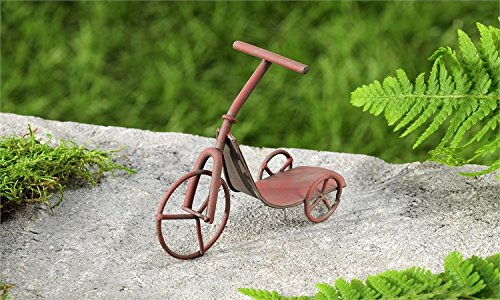 Iron Tricycle (Miniature Fairy Garden Rustic Iron Tricycle Scooter, Red)