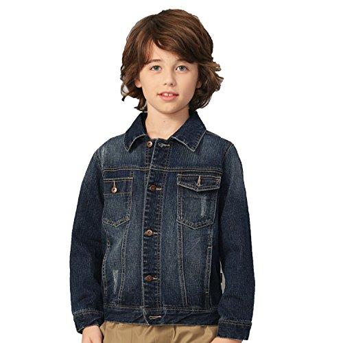 Leo&Lily Boys Denim Jackets Blazers Fleece Sleeves Hoods Vintage Dark Blue (14, Dark Blue)