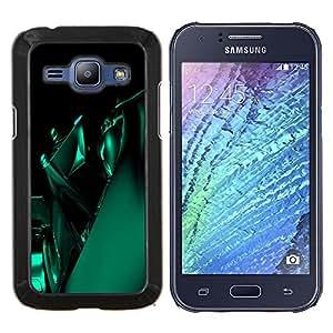 KLONGSHOP // Cubierta de piel con cierre a presión Shell trasero duro de goma Protección Caso - Imágenes abstractas en verde - Samsung Galaxy J1 J100 //