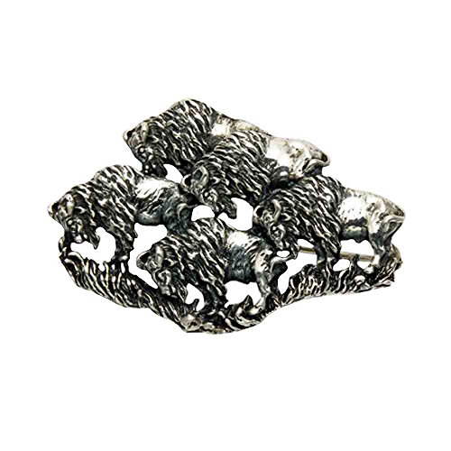 (Wild Things Sterling Silver Grazing Buffalo Herd Pin)