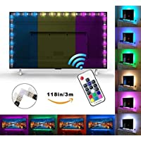 Exgreem Neon Accent (118IN/3M) LED Strips Bias Backlight RGB Lights with Remote Control for HDTV, Flat Screen TV Accessories and Desktop PC, Multi Color (118 inches)