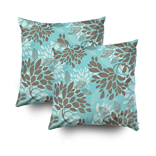Shorping Christmas Zippered Pillow Covers Pillowcases 18x18Inch 2 Pack Aqua Blue Green Florals Mix Match Decorative Throw Pillow Cover Pillow Cases Cushion Cover for Home Sofa Bedding