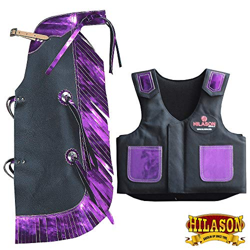 HILASON Junior Youth Bull Riding Pro Rodeo Leather Protective Vest Chaps