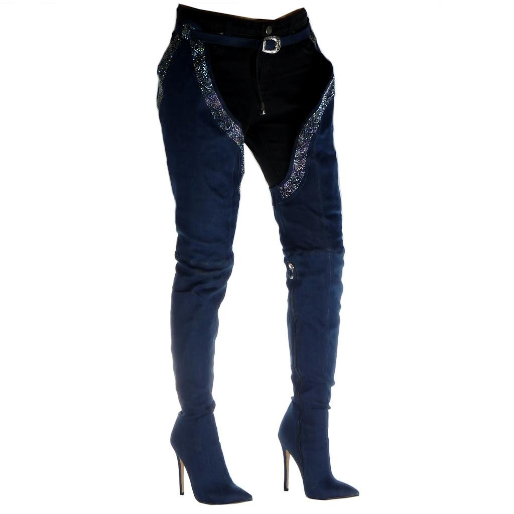 Angkorly Damen Schuhe Oberschenkel-Stiefel Stiefel - Jeans Jeans Jeans Denim - Stiletto - Sexy - Strass - Schleife Stiletto High Heel 12.5 cm 986e98