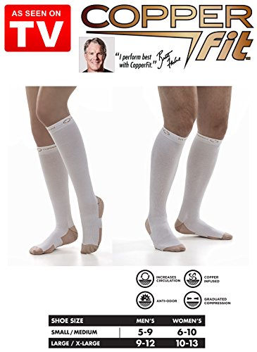 2 Pair Copper Fit Energy Compression Socks Compression Knee High Socks (L/XL, White)