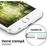 SAGPAD Verre trempé iphone 7 Plus/ 8 Plus [Blanc]- Garantie 3 Ans- Marque française de Haute qualité- Film Protection intégral 5D Vitre ecran- Très Solide- sans Bulle d'air- [7 Plus/ 8 Plus Blanc]