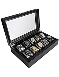 Mariner Watch Box Display Case | Luxury Carbon Fiber Pattern Interior with 10 Wide Watch Slots to Hold Big Face Watches (Black)