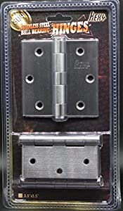 [3.5 x 3.5 in - Square Corner- 3 Pieces] Hexy-304 Stainless Steel Heavy Duty Door Hinges Commercial Grade