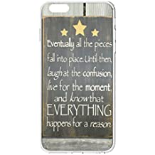 UKASE Hard Back Cases for iPhone 6 Plus (5.5 inch) with Beautiful Life Quotes - Balck Board With Yellow Stars- Eventually All The Pieces Fall Into Place Until Thenm Laugh At The Confusion, Live For The Moment, And Know That Everything Happens For A Reason