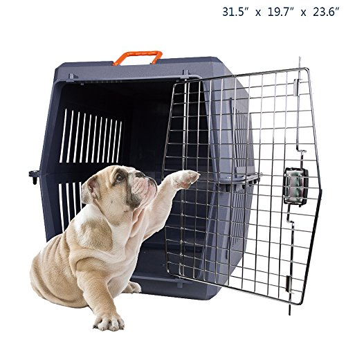 Cheap KARMAS PRODUCT Portable Large Cat Dog Cage Sky Kennel Box Pet Carrier with Chrome Door and 2 Handles, Indoor/Outdoor Travel