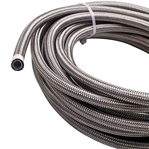 maXpeedingrods 6AN 20FT Stainless Steel PTFE E85 Silver Fuel Line Black Fitting Hose Kit AN6 12Feet - Sliver by maXpeedingrods (Image #2)
