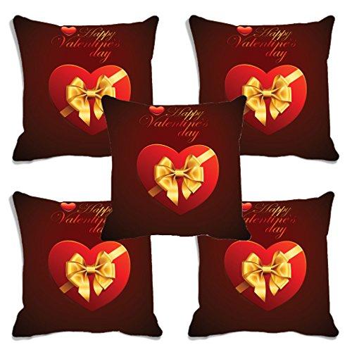 meSleep Red Happy Valentine Digital Printed Cushion Cover – Set of 5