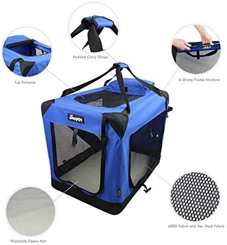 JESPET Soft Dog Crates Kennel for Pets, 3 Door Soft Sided Folding Travel Pet Carrier with Straps and Fleece Mat for Dogs, Cats, Rabbits, Blue Beige