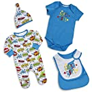 BABYTOWN Newborn Baby Boy Superhero Comic Themed 4 Piece Sleeper Set