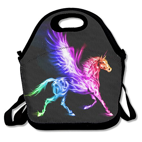 Unicorn Horse Retro Insulated Heating Polyester Backpack Women Men Kids Teen Girls Black Lunch Bag Tote Handbag For Outdoor Office