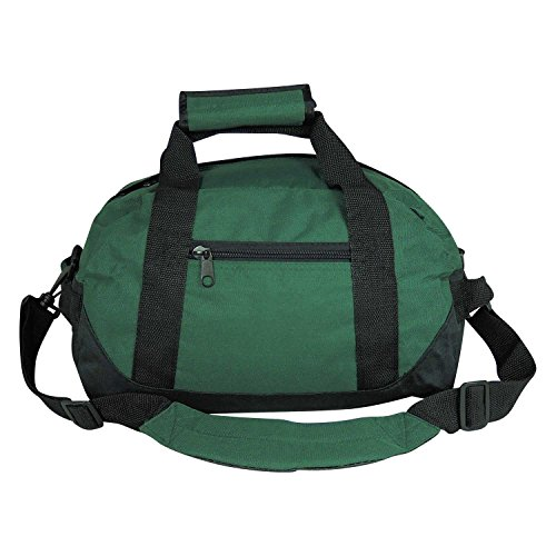 """14"""" Small Duffle Bag Two Toned Gym Travel Bag in Dark Green"""