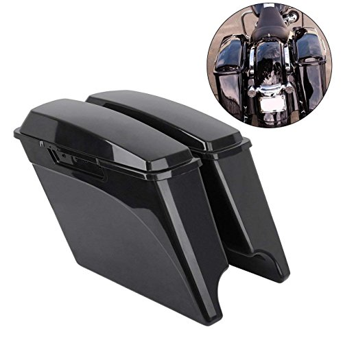 Ambienceo One Pair Unpainted Hard Saddle Bags Saddlebags + Lids for 1993-2013 Harley Touring FLH FLT Electra Glide Road king Ultra Street ((4inch)