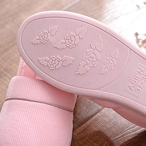 Chaud Belle Garder Hiver TD Coton Pantoufle Couleur Pantoufles Mois Automne Et Anti Taille Pantoufles épais Mois Maison dérapant 35yards Pink Intérieur Fond Molleton 34 Gray 7xFTXFq