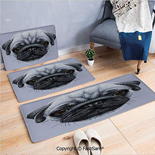 FashSam 3 Piece Flannel Doormat Realistic Style Detailed Young Dog with Cute Giant Eyes Pure Breed Pug Blue Backdrop Decorative for Kitchen Rugs Carpet(W15.7xL23.6 by W19.6xL31.5 by W15.7xL39.4)