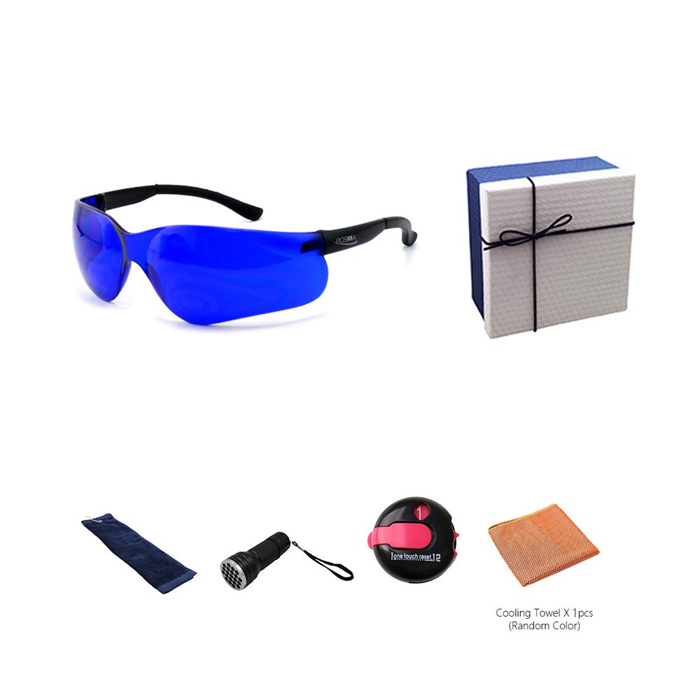 POSMA GS-SGG040A Golfballfinder Brillen Retriever Geschenkset inkl. UV Golfball Finder Taschenlampe Golfball Reinigung Handtuch Kühltuch und One Touch Reset Strichzähler in eleganter Geschenkbox
